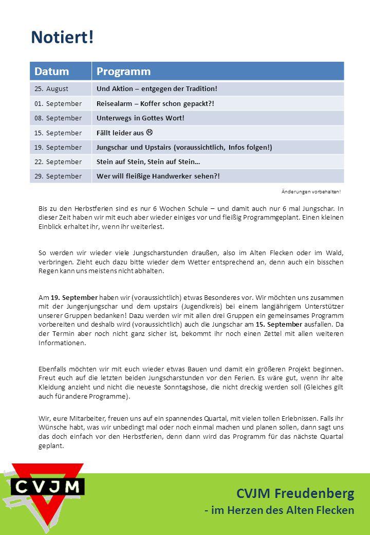 Notiert! CVJM Freudenberg Datum Programm - im Herzen des Alten Flecken