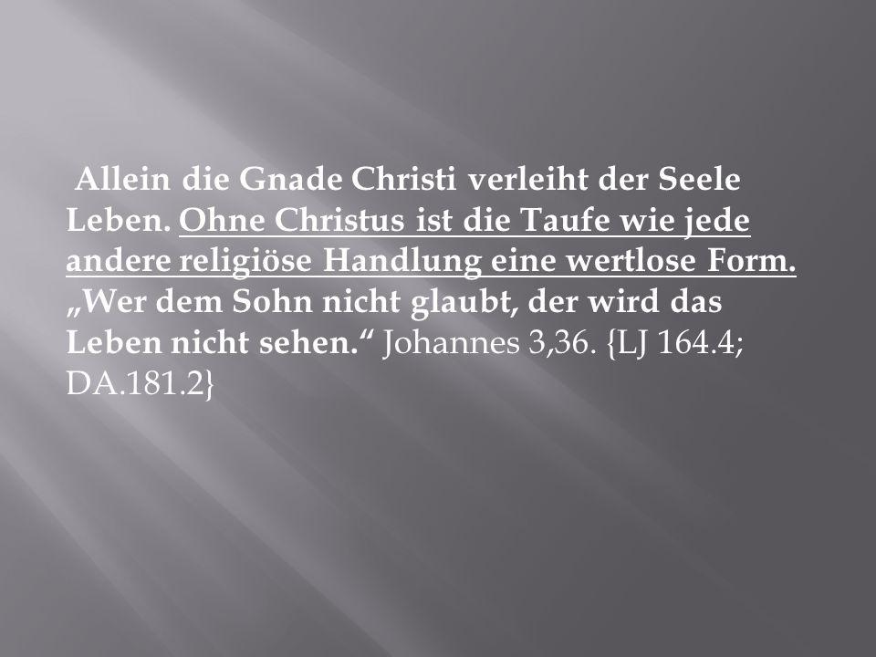 Allein die Gnade Christi verleiht der Seele Leben