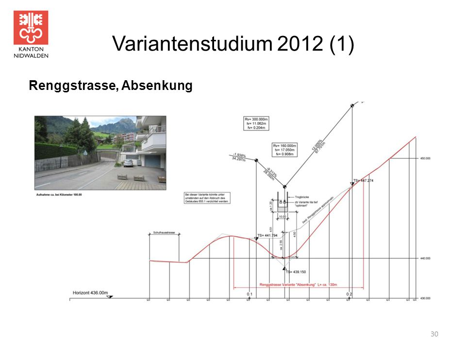 Variantenstudium 2012 (1) Renggstrasse, Absenkung