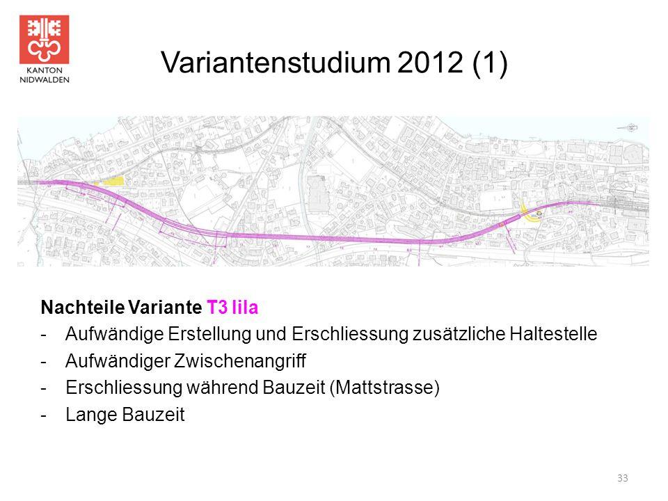 Variantenstudium 2012 (1) Nachteile Variante T3 lila