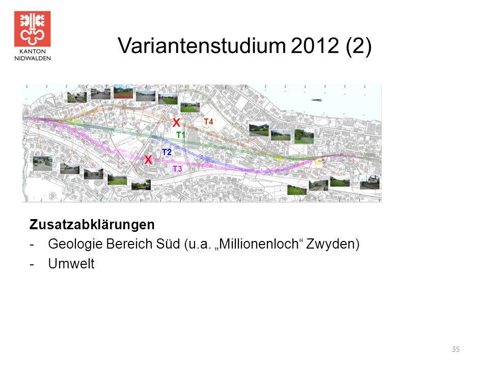 Variantenstudium 2012 (2) x x Zusatzabklärungen