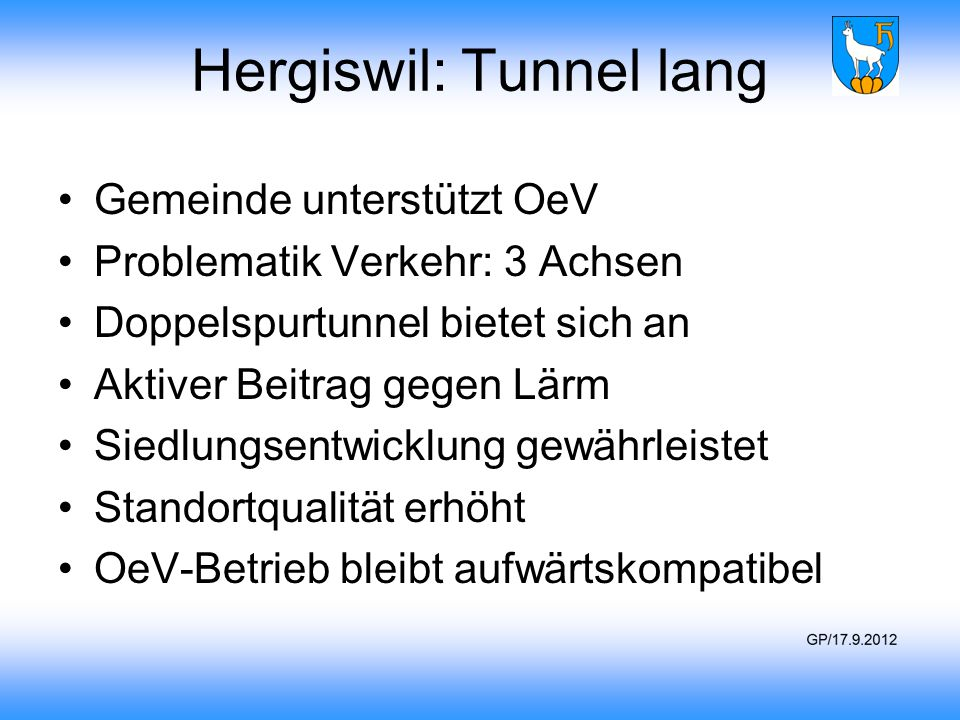 Hergiswil: Tunnel lang