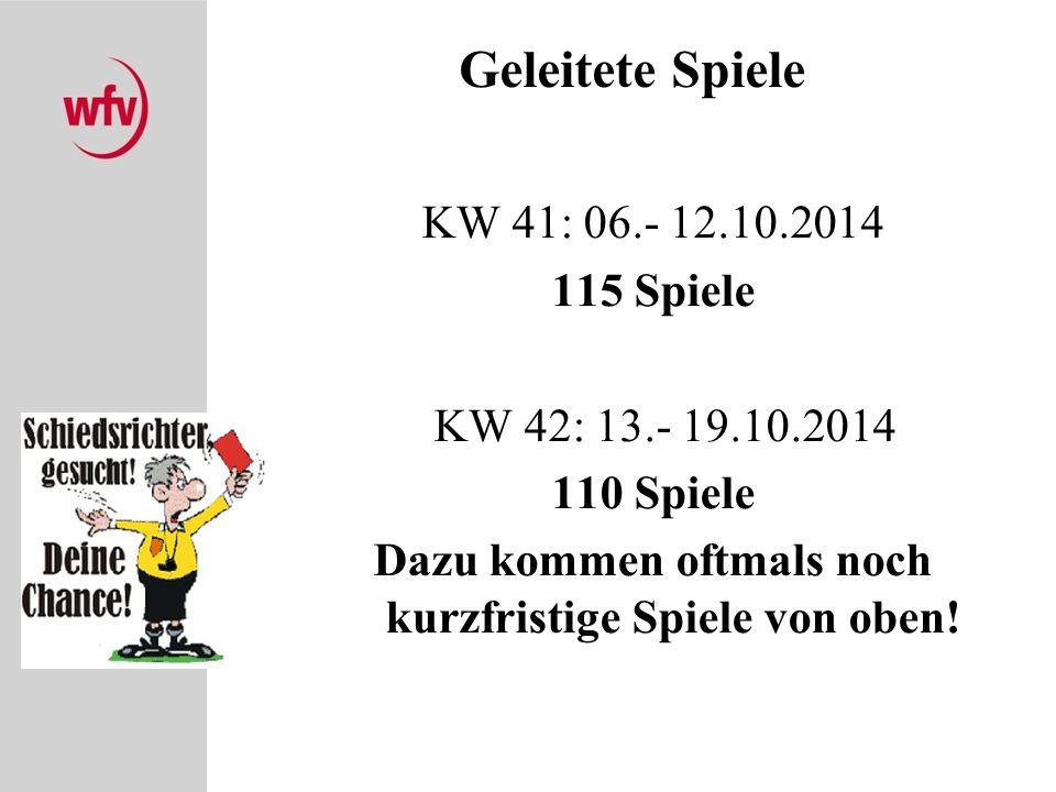 Geleitete Spiele KW 41: 06.- 12.10.2014 115 Spiele KW 42: 13.- 19.10.2014 110 Spiele Dazu kommen oftmals noch kurzfristige Spiele von oben.