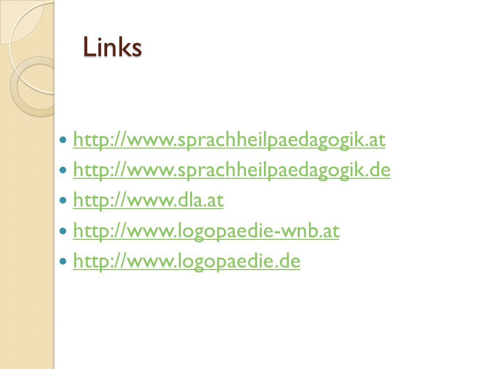 Links http://www.sprachheilpaedagogik.at