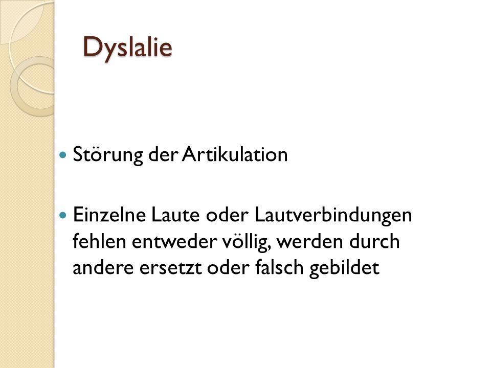 Dyslalie Störung der Artikulation