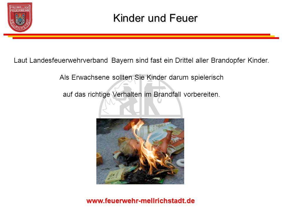 Kinder und Feuer Laut Landesfeuerwehrverband Bayern sind fast ein Drittel aller Brandopfer Kinder.