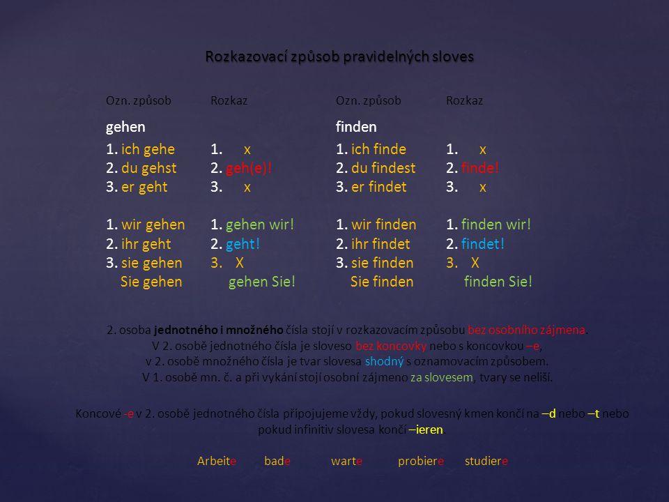Rozkazovací způsob pravidelných sloves