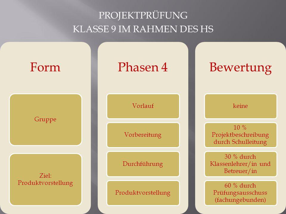 Form Phasen 4 Bewertung Projektprüfung Klasse 9 im Rahmen des HS