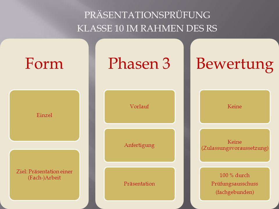 Form Phasen 3 Bewertung Präsentationsprüfung