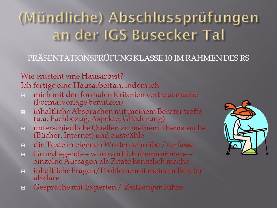(Mündliche) Abschlussprüfungen an der IGS Busecker Tal