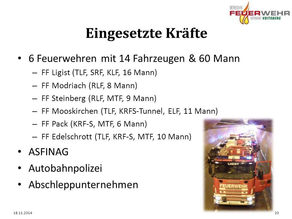 Eingesetzte Kräfte 6 Feuerwehren mit 14 Fahrzeugen & 60 Mann ASFINAG