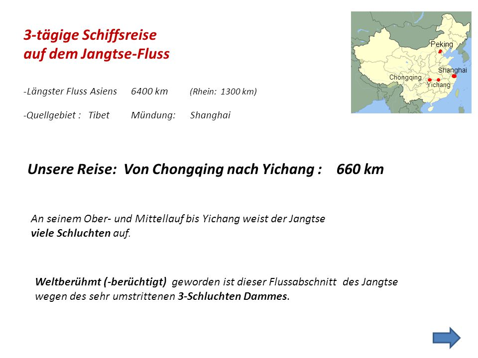 Unsere Reise: Von Chongqing nach Yichang : 660 km