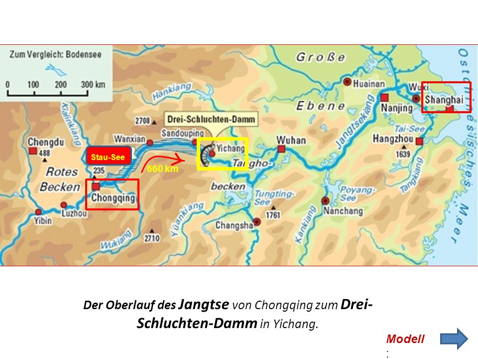 Stau-See 660 km. Der Oberlauf des Jangtse von Chongqing zum Drei-Schluchten-Damm in Yichang.