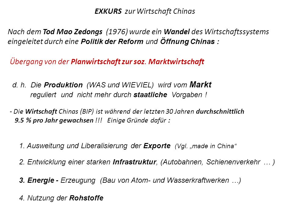 EXKURS zur Wirtschaft Chinas