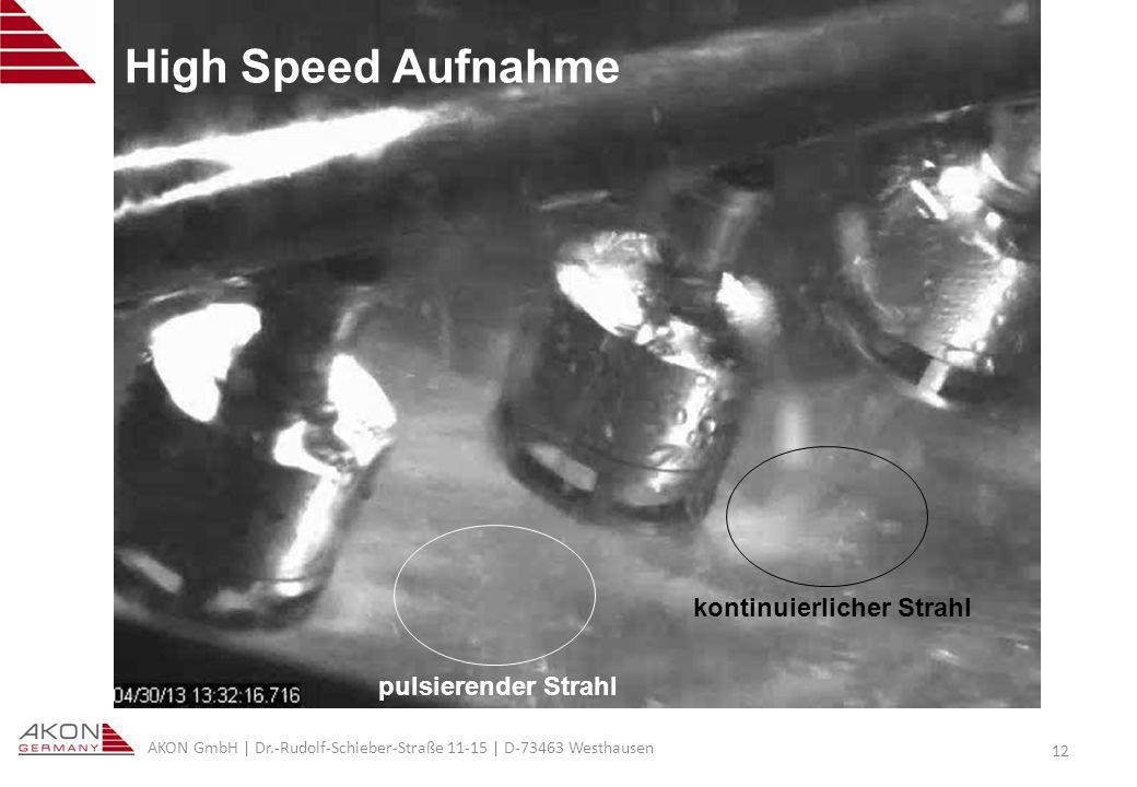 High Speed Aufnahme kontinuierlicher Strahl pulsierender Strahl