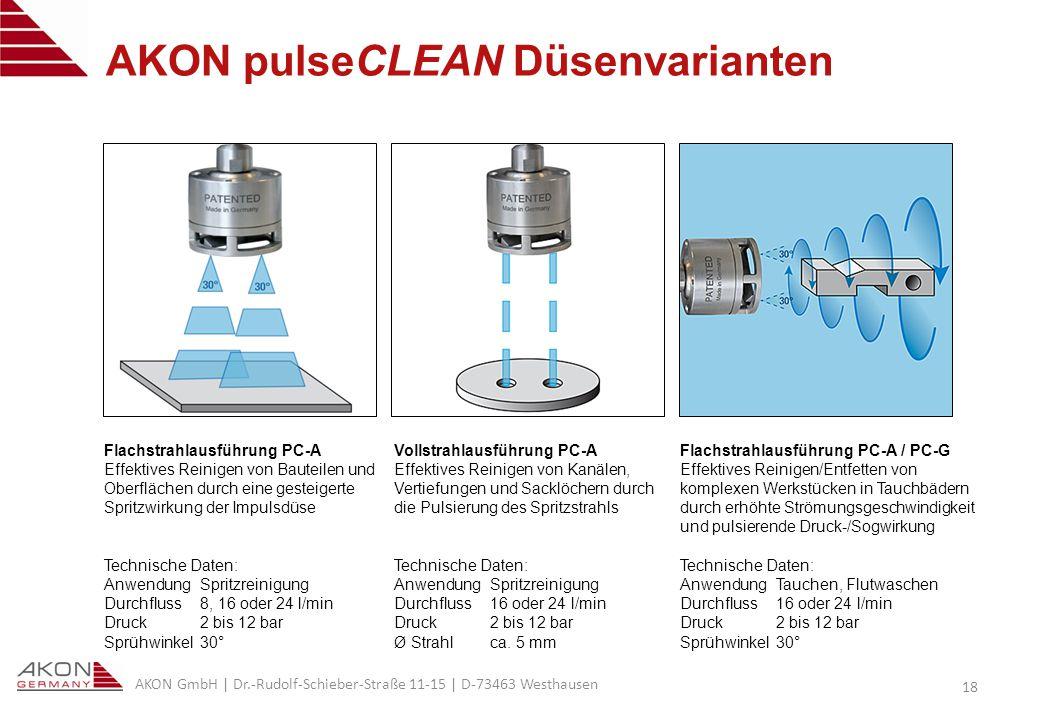 AKON pulseCLEAN Düsenvarianten