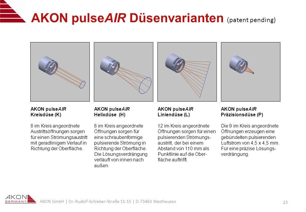 AKON pulseAIR Düsenvarianten (patent pending)