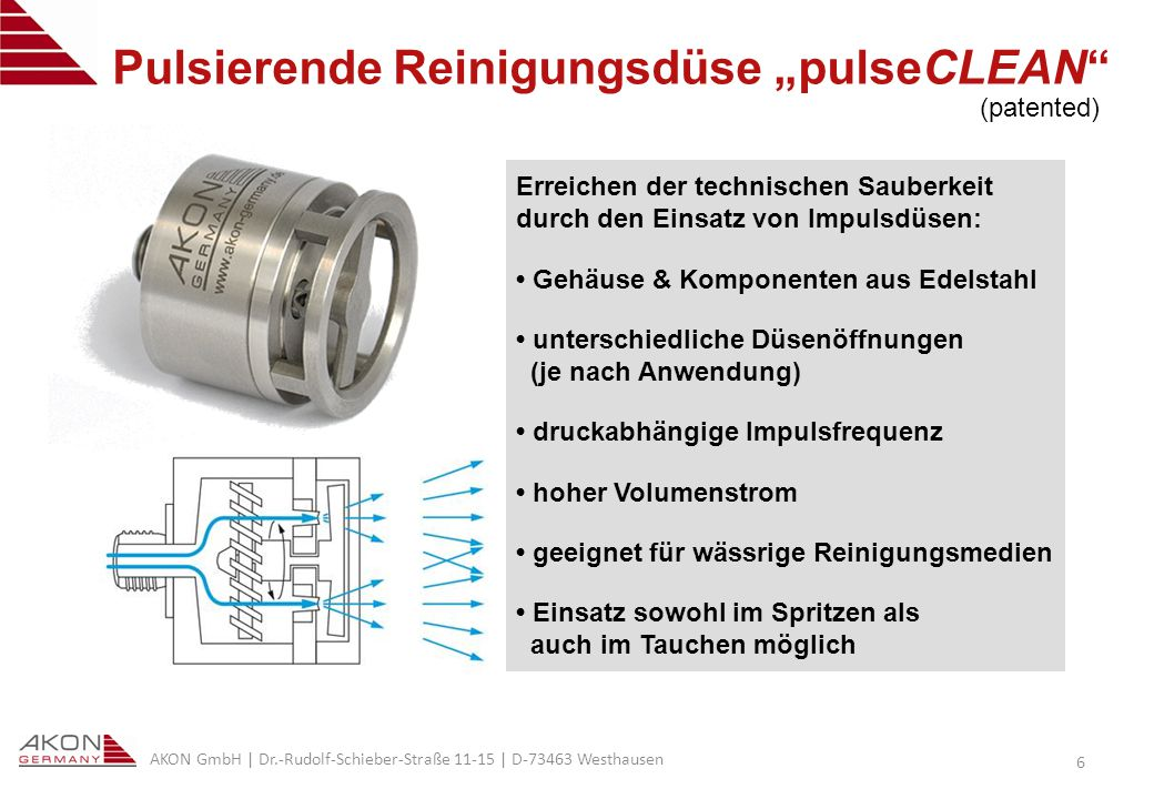 """Pulsierende Reinigungsdüse """"pulseCLEAN"""