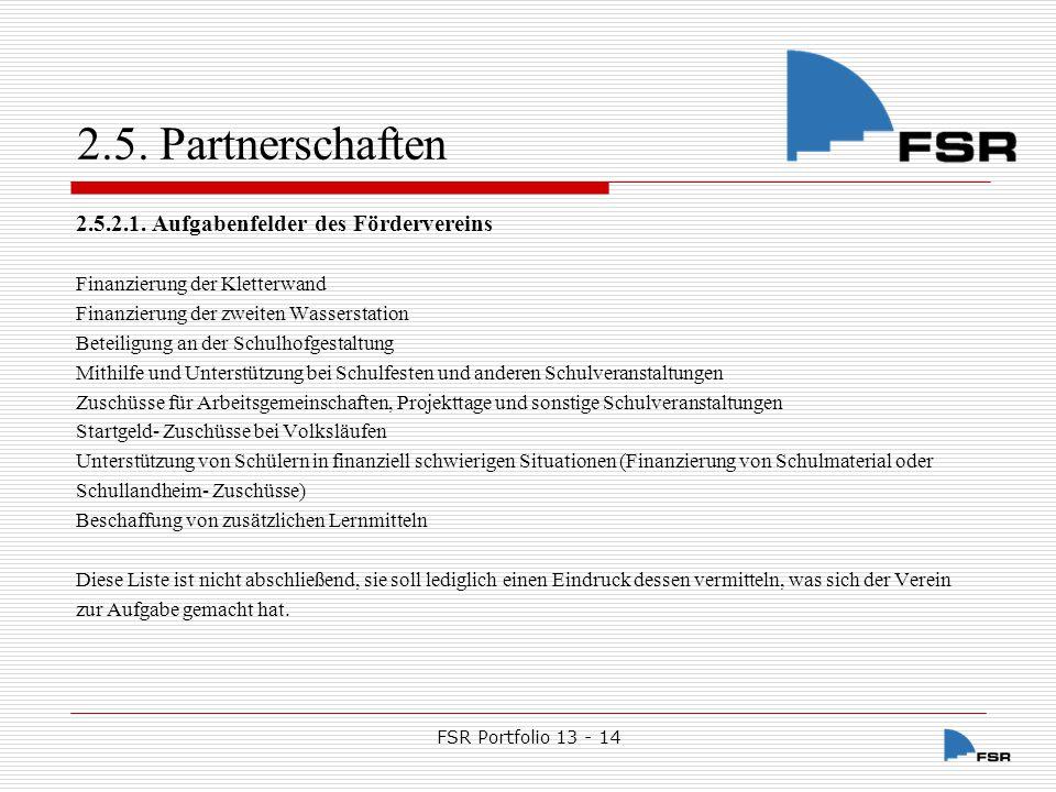 2.5. Partnerschaften 2.5.2.1. Aufgabenfelder des Fördervereins
