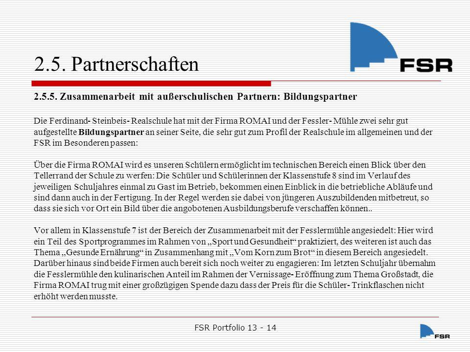 2.5. Partnerschaften 2.5.5. Zusammenarbeit mit außerschulischen Partnern: Bildungspartner.