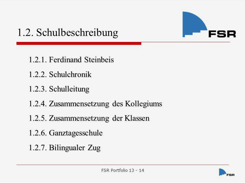 1.2. Schulbeschreibung 1.2.1. Ferdinand Steinbeis 1.2.2. Schulchronik
