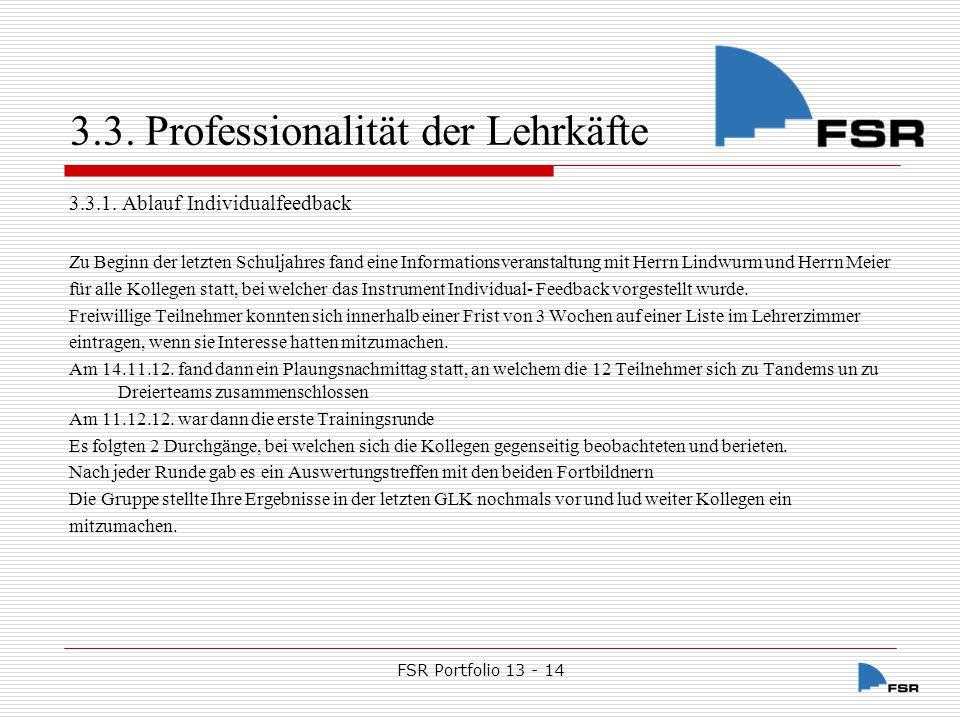 3.3. Professionalität der Lehrkäfte