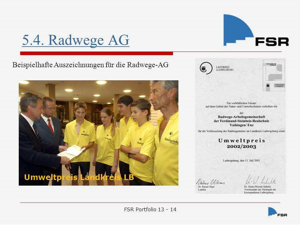 5.4. Radwege AG Beispielhafte Auszeichnungen für die Radwege-AG