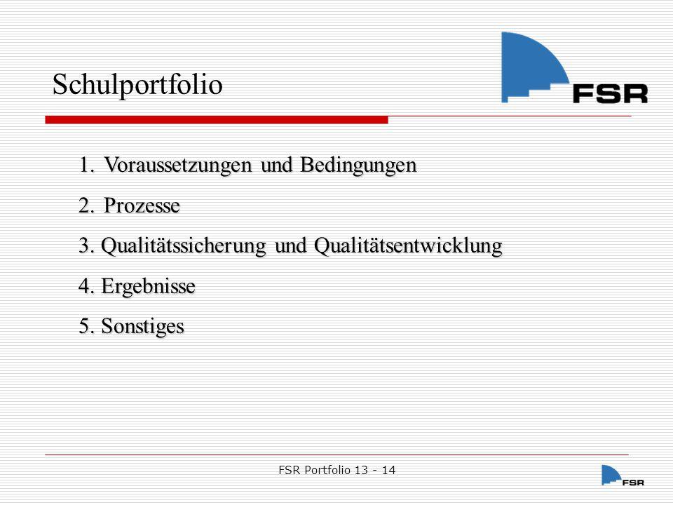 Schulportfolio Voraussetzungen und Bedingungen Prozesse