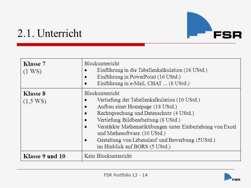 2.1. Unterricht Klasse 7 (1 WS) Klasse 8 (1,5 WS) Klasse 9 und 10