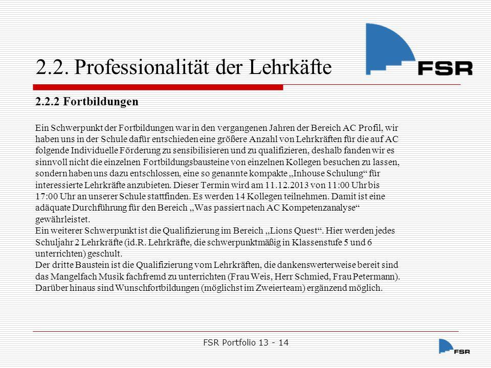 2.2. Professionalität der Lehrkäfte