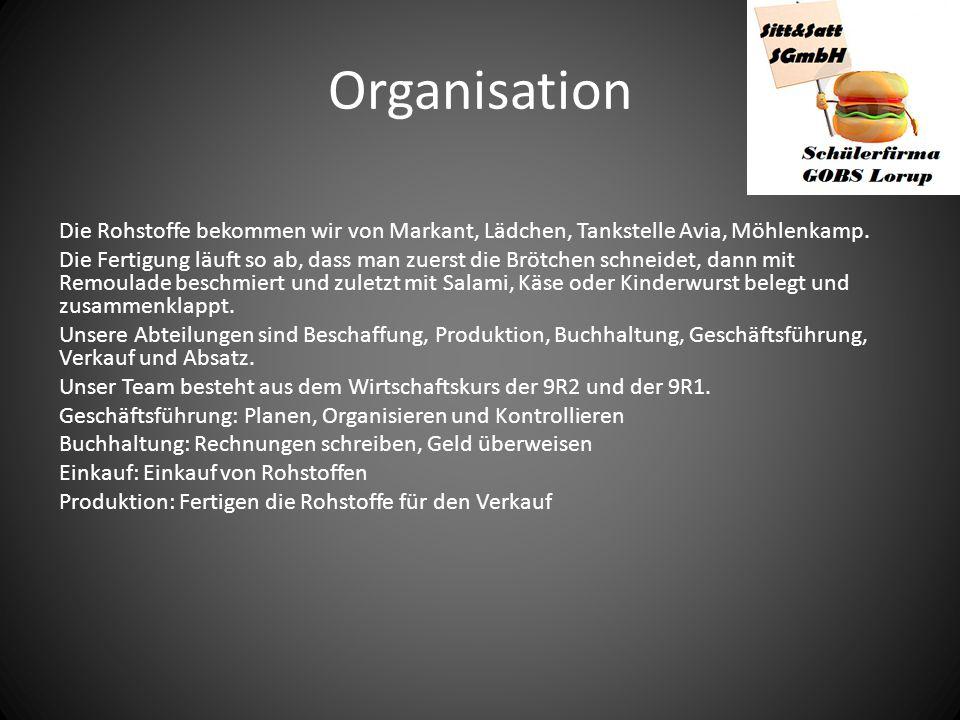 Organisation Die Rohstoffe bekommen wir von Markant, Lädchen, Tankstelle Avia, Möhlenkamp.