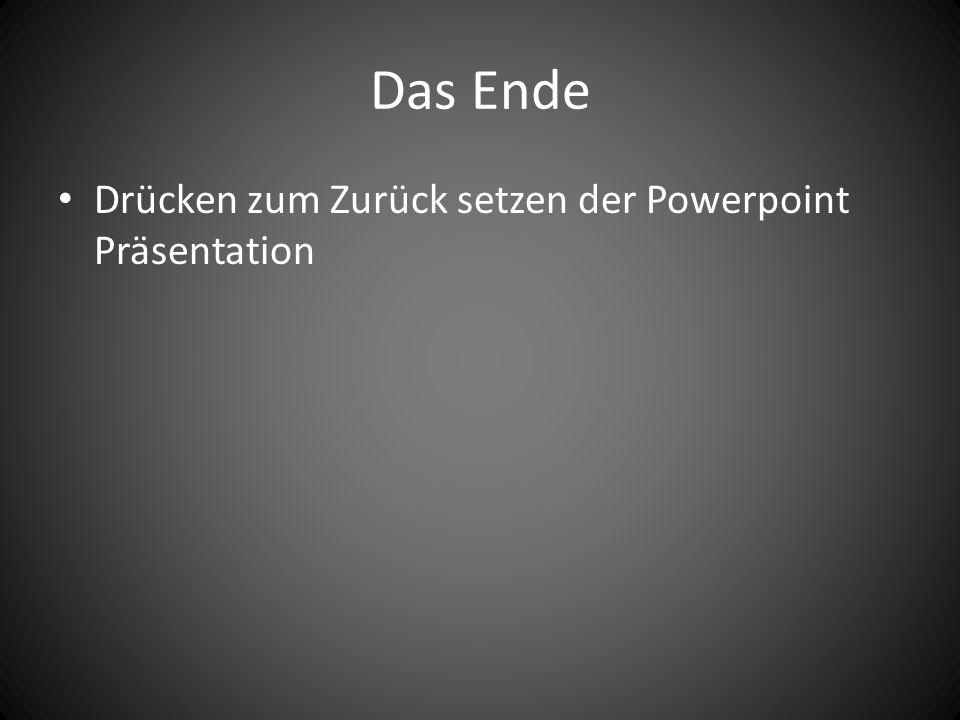 Das Ende Drücken zum Zurück setzen der Powerpoint Präsentation