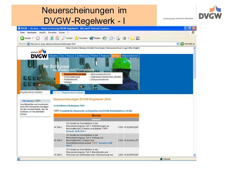 Neuerscheinungen im DVGW-Regelwerk - I