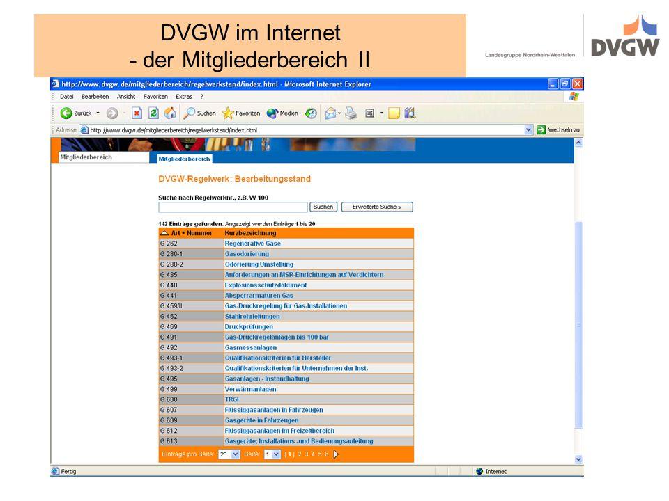 DVGW im Internet - der Mitgliederbereich II