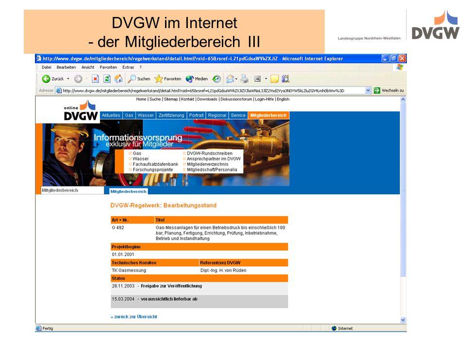 DVGW im Internet - der Mitgliederbereich III
