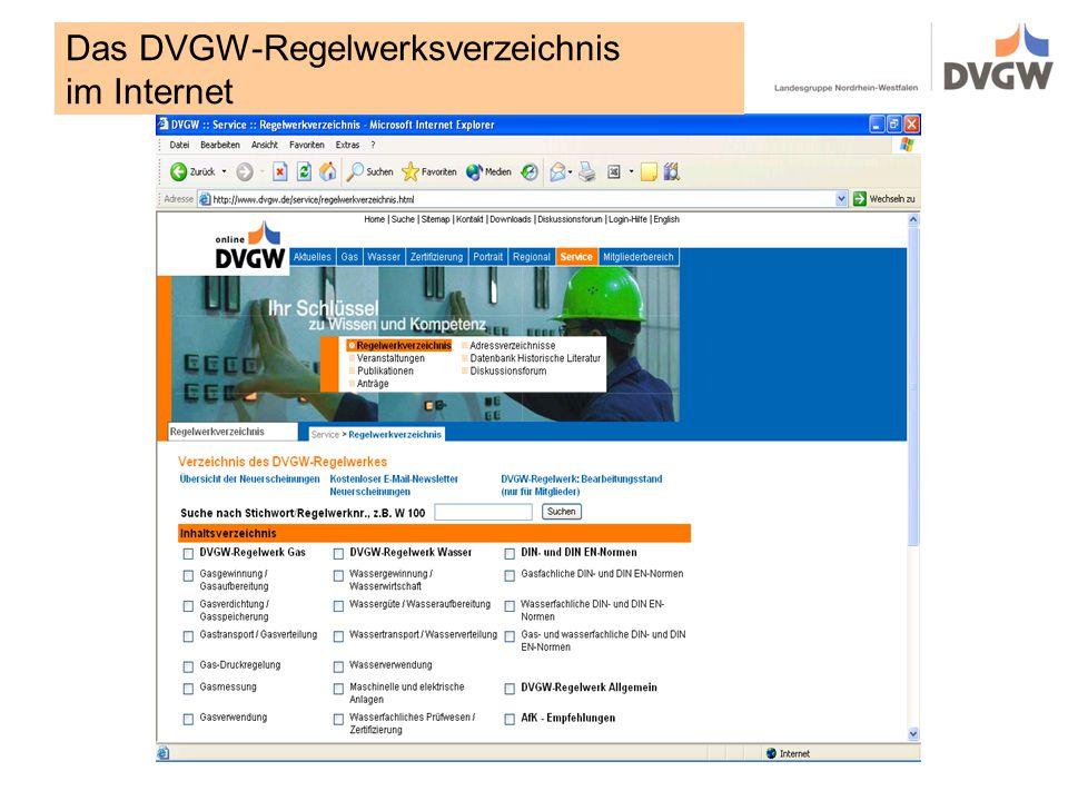 Das DVGW-Regelwerksverzeichnis im Internet