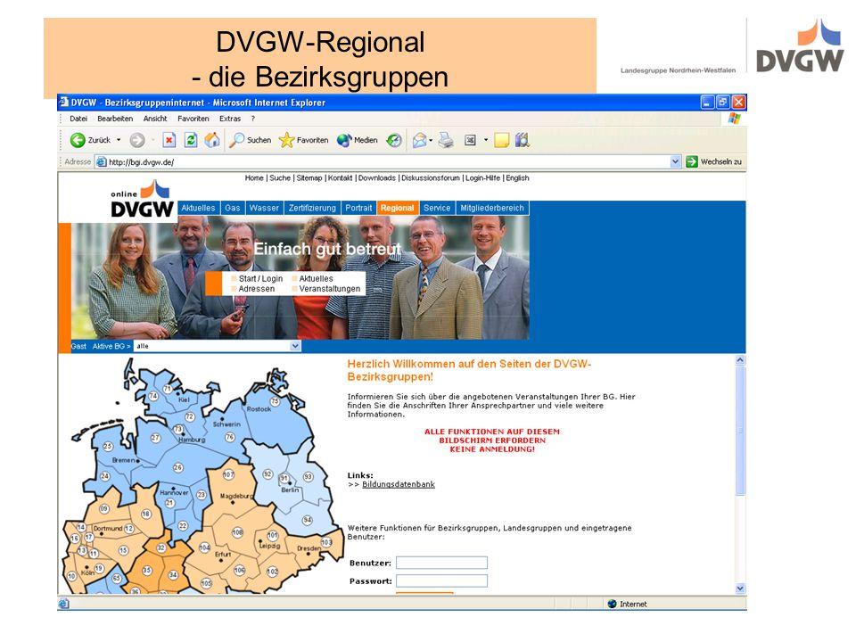 DVGW-Regional - die Bezirksgruppen