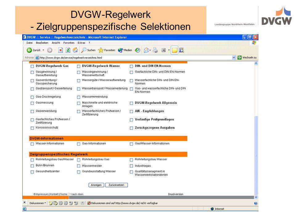 DVGW-Regelwerk - Zielgruppenspezifische Selektionen
