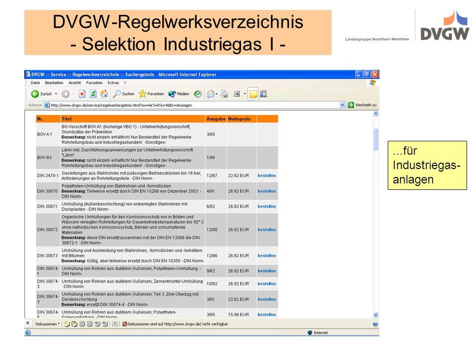 DVGW-Regelwerksverzeichnis - Selektion Industriegas I -