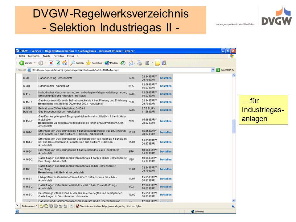 DVGW-Regelwerksverzeichnis - Selektion Industriegas II -
