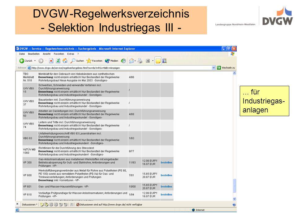 DVGW-Regelwerksverzeichnis - Selektion Industriegas III -
