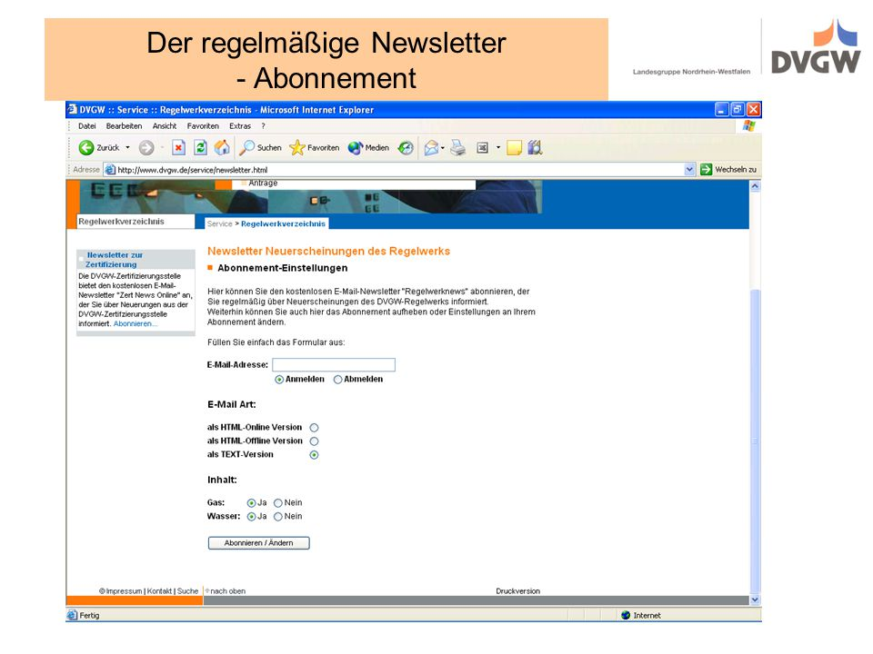 Der regelmäßige Newsletter - Abonnement