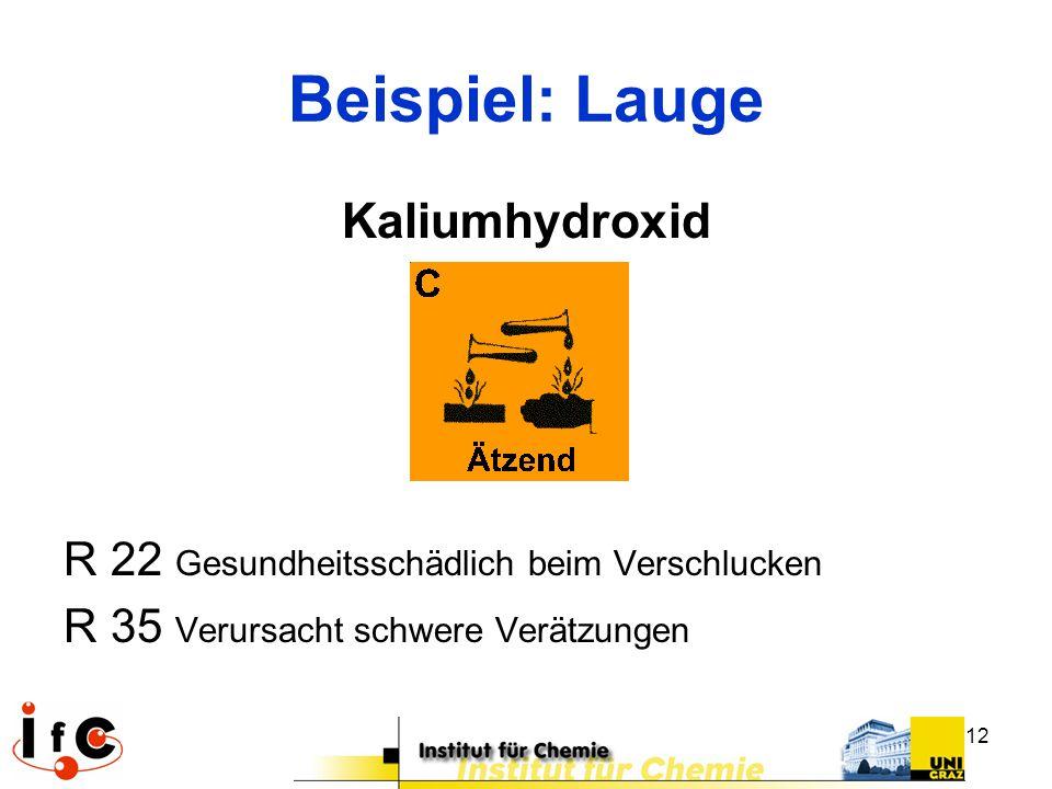 Beispiel: Lauge Kaliumhydroxid