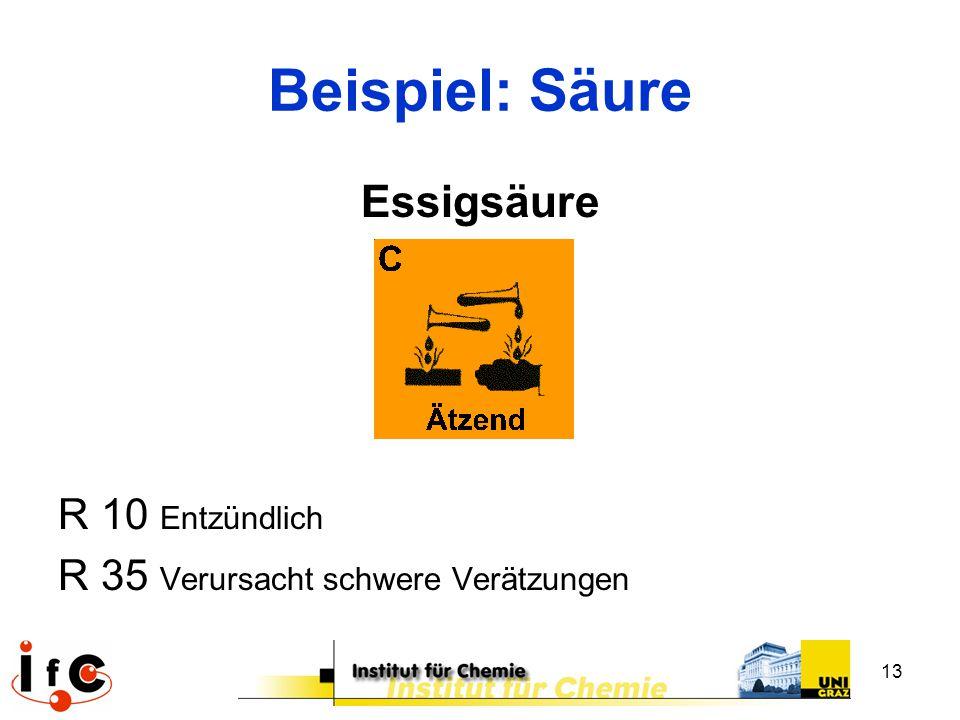 Beispiel: Säure Essigsäure R 10 Entzündlich