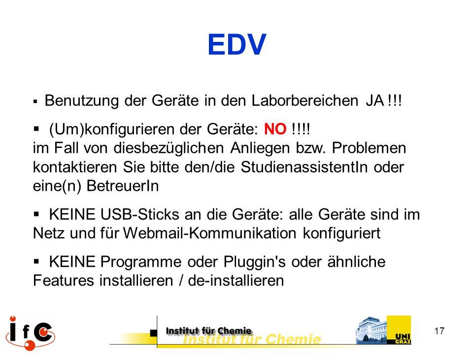 EDV Benutzung der Geräte in den Laborbereichen JA !!!