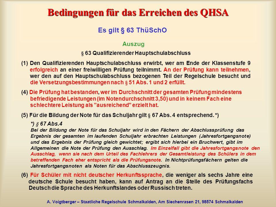 Bedingungen für das Erreichen des QHSA