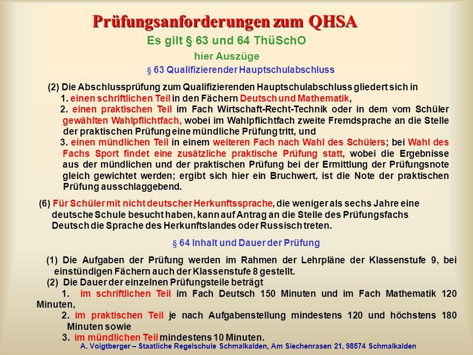 Prüfungsanforderungen zum QHSA