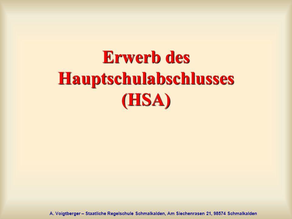 Erwerb des Hauptschulabschlusses (HSA)