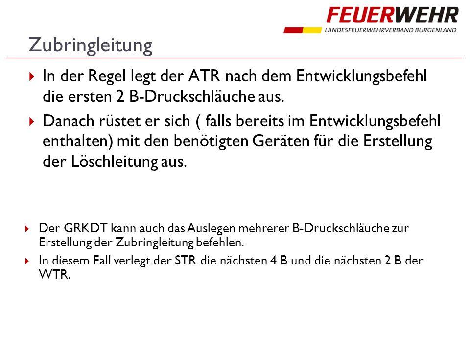 Zubringleitung In der Regel legt der ATR nach dem Entwicklungsbefehl die ersten 2 B-Druckschläuche aus.