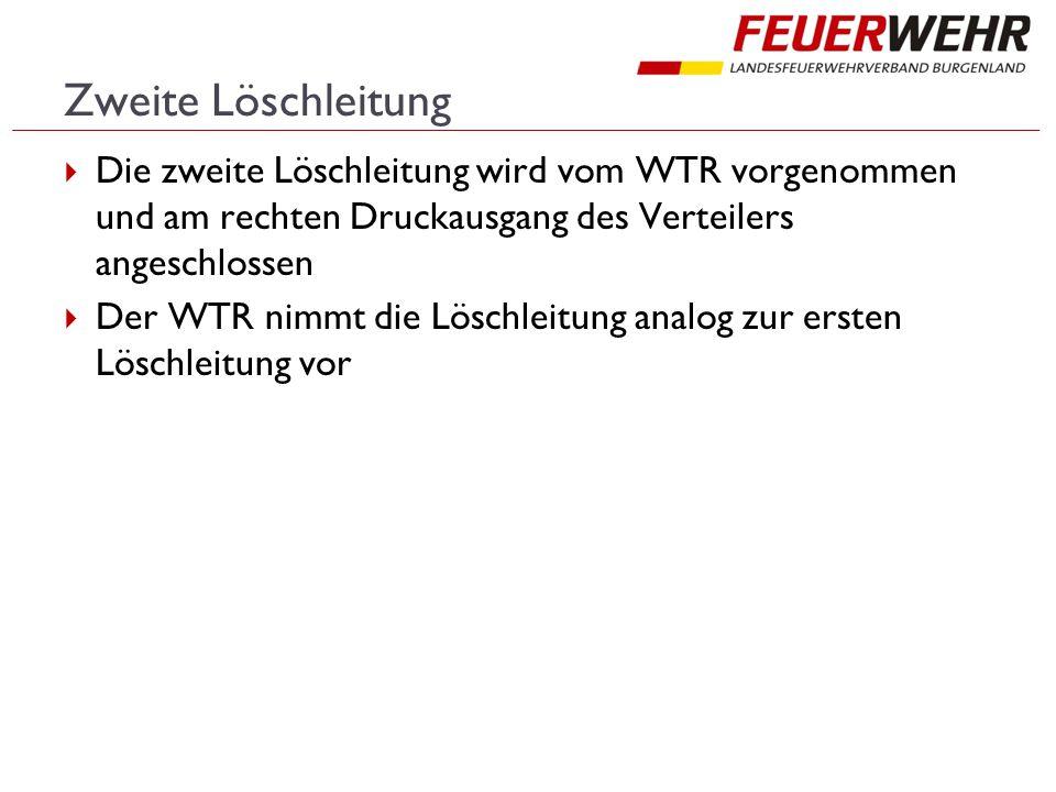 Zweite Löschleitung Die zweite Löschleitung wird vom WTR vorgenommen und am rechten Druckausgang des Verteilers angeschlossen.